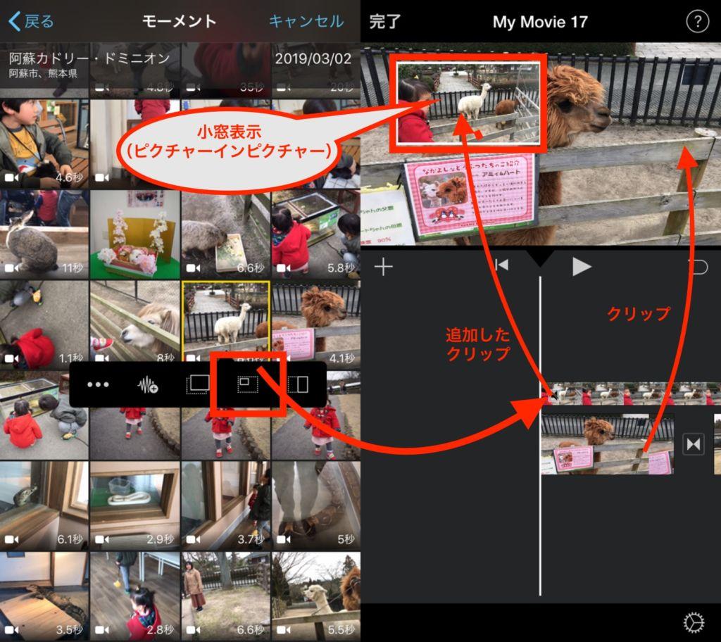 iphoneのimovie:ピクチャーインピクチャー
